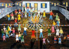 Agostinho Batista de Freitas - Festa Junina - Óleo sobre tela - 70 x 100 cm - 1988 - sem moldura Naive, Love Art, Drawings, Karma, Painting, People, San Antonio, Picture Frame, Lisbon
