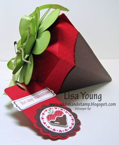 Chocolate covered strawberry box created from Petal Cone Bigz die -- Add Ink and Stamp Origami, 3d Paper Crafts, Diy Crafts, Strawberry Box, Scrapbooking, Envelopes, Homemade Cards, Stampin Up Cards, Cardmaking