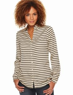 The Limited - Striped Cutaway-Neck Blouse - Very cute. A classy, yet slightly casual look. #TheLimitedShirtEvent