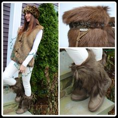 """CALFHAIR SHEEPSKIN LINED FUR & FEATHER BOOTS Tis the season, Make these your snow boots or step out and turn heads and make a statement when you wear these fluffy comfy calfhair boots out on the town. Made of goat fur exterior and sink your feet into cozy genuine sheepskin lined foot bed. This maple color, fashionable feather band and suede side tie are sure to add that chic touch to any winter ensemble. Shaft height 11"""" and Heel height 1.5"""" (Only branded UGGs for propose to party access)…"""
