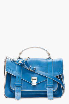 PROENZA SCHOULER // MEDIUM PEACOCK BLUE & GREY LEATHER PS1 MESSENGER BAG