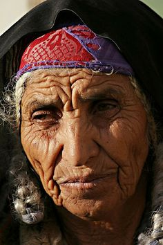 80-yeal-old Bedouin woman in the city of Rahat, in the south of Israel.