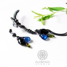 Copacabana - sterling silver ear climber with a stud to the set, assymetrical earrings, kyanite, black spinel, christmas gift for her, boho - pinned by pin4etsy.com
