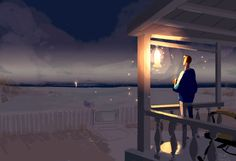 pascal campion: A Porch light kind of evening. Pascal Campion, Street Art, Porch Lighting, Anime Scenery, Time Art, Sculpture, American Artists, Les Oeuvres, Amazing Art