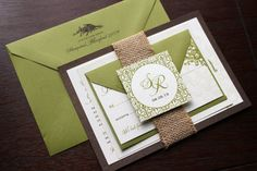Lily of the Valley Panel Style Wedding Invitation Suite - Olive, Brown, Burlap