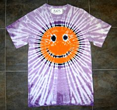 TIE DYE SMILEY FACE T-SHIRT orange & purple SMALL Gildan Ultra Cotton Tee Shirt #Gildan #ShortSleeve #jawdropping #joint #jawdroppingnifty3 #tiedye #love #fashion #smiley #smile #happy #face #happyface #whatcolorhappy #color #happylife
