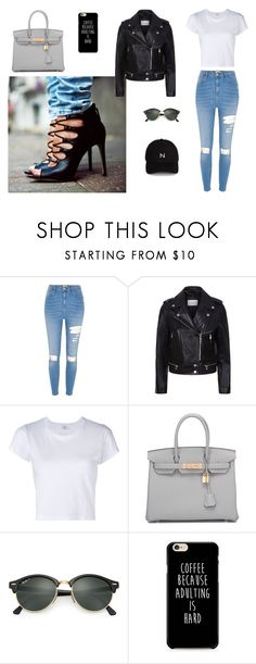 """""""Street style #1"""" by andreiah ❤ liked on Polyvore featuring River Island, Sandro, RE/DONE, Hermès, Ray-Ban and New Black"""