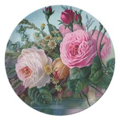 Vintage Victorian Roses Plate