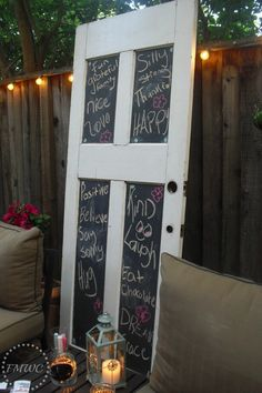 Backyard chalkboard door... Maybe window?