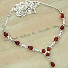 7.58ctw Genuine Carnelian & .925 Sterling Silver Plated Brass Necklace (SJHN0085CRN) #fashionnecklaces #beautifulnecklaces #cheapnecklaces #silvernecklacesforwomen #necklacependants #silvernecklaceslong #silvernecklace #personalizednecklaces #womensnecklace #silvernecklaceformen #menssilvernecklace #mennecklaces #mensnecklaces #gemstone necklaces Buy Now:  http://www.sterlingsilverjewelry.tv/genuine-carnelian-silver-plated-brass-y-necklaces-sjhn0085crn.html