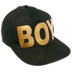 BOY London Gold Logo Snapback Cap ($59) ❤ liked on Polyvore featuring accessories, hats, snapbacks, black, cap, boy london hat, black hat, cotton hat, cotton cap and black snapback