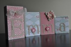 Custom Decor Blocks by LilypadandMeatball on Etsy- Can be customized for any nursery decor. Great for gift giving!