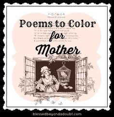 FREE Poems to Color for Mother! Great idea!