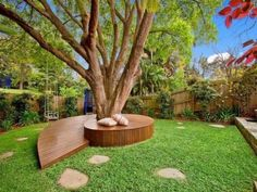 will help you make a tree bench in your garden and get to use the free space around the trees. So, check out our Garden Tree Benches That Will Impress You. Yard Benches, Backyard Seating, Backyard Garden Design, Garden Seating, Backyard Landscaping, Landscaping Ideas, Outdoor Seating, Backyard Trees, Cozy Backyard