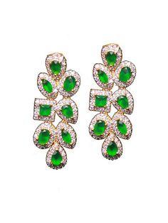 Green stone Diamond danglers   Sweta Sutariya