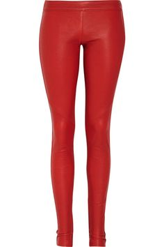 red leather jeggings.