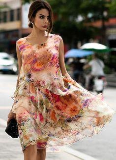 Seda Floral Sem magas Altura do Joelho Vintage Vestidos de