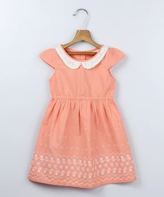 Look at this Beebay Peach Eyelet Collar A-Line Dress - Girls on #zulily today!