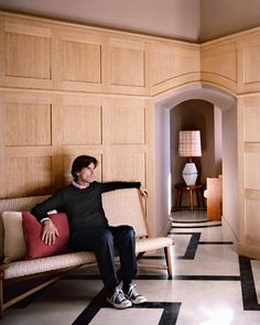 Interior architect Pierre Yovanovitch, who designed Hotel Marignan Paris Timber Wall Panels, Timber Walls, Wood Panel Walls, Paneled Walls, Wall Panelling, Wooden Walls, Wood Paneling, Pierre Yovanovitch, Entry Hallway