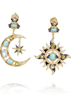 Percossi Papi | Gold-plated turquoise, peridot and topaz earrings | NET-A-PORTER.COM