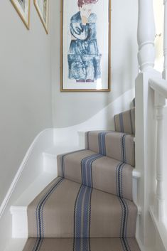 Roger Oates 'Cluny' stair runner, col Denim -white stairs with runner for laminate alternative Staircase, Diy Stairs, Decor, Little House, Wall Color, Cottage Decor, Home, House Stairs, Home Decor