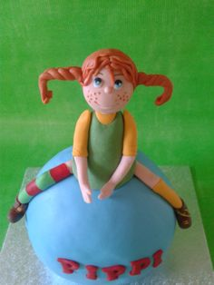 Pippi Cake 3rd Birthday, Birthday Cakes, Pippi Longstocking, Sugar Art, Cold Porcelain, Clay Ideas, Creative Cakes, Pepsi, Little People