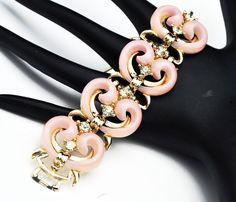 Mid Century Link Bracelet Fleur De Lis Pink Enamel 50s Jewelry 7 inch long