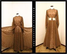 Vintage Floral Dress • Vintage 70's • Victorian Edwardian Renaissance Style • Organza • folk • boho • Modern • High Fashion • Brown • gown $80