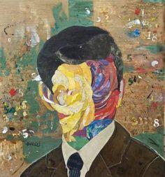"Saatchi Art Artist Minas Halaj; Portrait Collage, """"Democratic Candidate"""", Featured in Saatchi Art's Best of 2016 collection, hand-picked by Chief Curator Rebecca Wilson #art"
