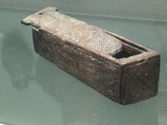 Decorated wood sliding lid box Viking Age Dublin. National Museum of Ireland