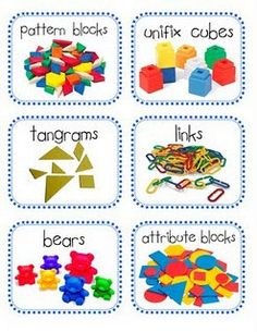Printables: these are great for the manipulatives around the room!