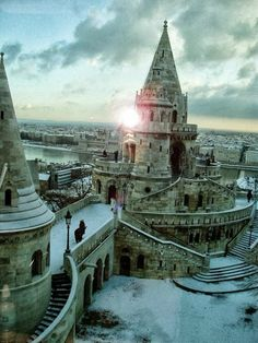 A fairy tale city - Fishermen's Bastion in Buda Castle, early evening view