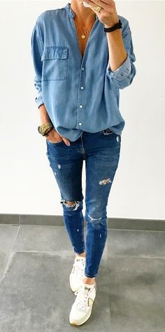 #Summer #Outfits / Ripped Jeans + Light Blue Long Sleeve Shirt