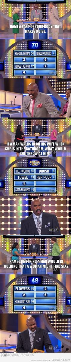 Family Feud Funny Answers - D and I really love this show - we can clear the board almost every time between the two of us! We should be on it!