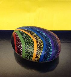 Hand Painted Rock - Rainbow of Colors by AfterHourArt on Etsy