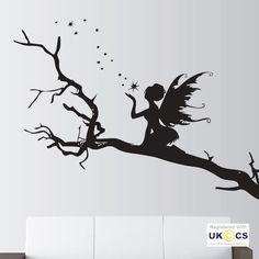 Wall Stickers Angel Trees Stars Fairy Fairytale Art Decals Vinyl Decor Room Home Fairy Silhouette, Silhouette Painting, Tree Stencil, Stencil Art, Fairy Tattoo Designs, Fairy Jars, Vinyl Decor, Fairytale Art, Wall Stickers
