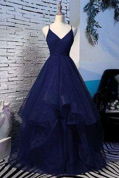 Spaghetti Strap V Neck Pink Prom Dress With Split,Long Evening Dress – Okdresses