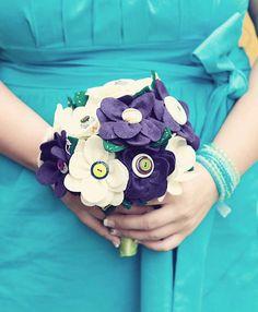 Wedding photography by Shawn Van Daele & Clint Russell. Fabric Bouquet, Felt Flower Bouquet, Flower Bouquet Wedding, Felt Flowers, Diy Flowers, Fabric Flowers, Wedding Trends, Diy Wedding, Wedding Ideas