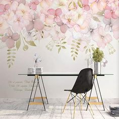 Watercolor Pink Flowers Wallpaper Wall Mural, Hanging Branch Floral Wall Murals Wallpaper, Wallpaper for Bedroom Living Room Home Decor Wallpaper Wall, Flower Wallpaper, Bedroom Wallpaper, Photo Wallpaper, Leaves Wallpaper, Wallpaper Designs, Painting Wallpaper, Ink Painting, Hydrangea Flower