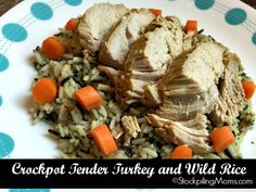 Crockpot Tender Turkey and Wild Rice is a great healthy dinner recipe!