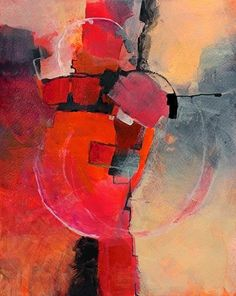 "Geometric Abstract Art Painting ""Color Study #3"" by Colorado Mixed Media Abstract Artist Carol Nelson. From a series painted with fluid paints on watercolor paper. Bright red bordered by black makes this painting stand out."