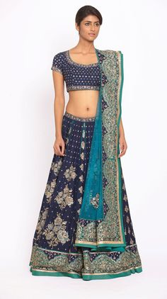 4d0285ffaf43 Royal Blue   Turquoise Embroidered Lehenga With Dupatta