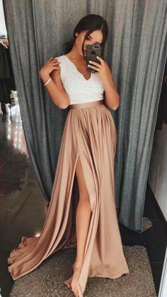 Sleeveless Plunge Neckline Lace Bodice Maxi Dress - Ecru and Gold - Be Fabulous