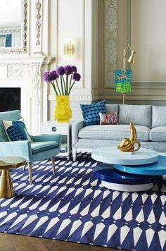 @jonathanadler Blue living room color scheme. Living room rugs, velvet armchairs and a cocktail table. More at http://www.brabbu.com/en/inspiration-and-ideas/interior-design/projects-jonathan-adler