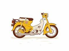 Dribbble - the Duck by Revoltan Technical Illustration, Illustration Art, Cartoon Styles, Cute Cartoon, Motorcycle Art, Classic Motorcycle, Scrambler Motorcycle, Honda Motorcycles, Motor Cafe Racer