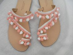 Greek made shoes Boho summer flats Greek leather sandals White peach pom poms sandals Elegant shoes Gift for her Strappy leather shoes
