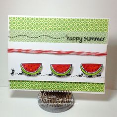 Cat Luvs Paper   Watermelon Card with Lawn Fawn 'Happy Summer'