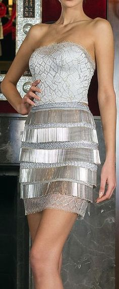 shiny metallic - contrast b/t bodice and skirt, love the metallic tiered ruffle of the skirt - Toufic Hatab Couture Spring 2014