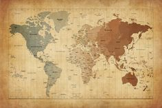 """Map of The World III"" - canvas print by Michael Tompsett"