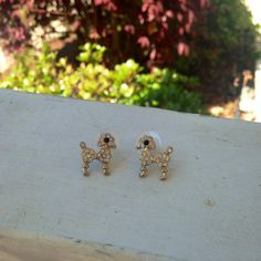 Gold poodle earrings with rhinestone accents by SaltwaterBliss
